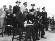 Roosevelt and Winston Churchill aboard HMS Prince of Wales for 1941 Atlantic Charter meeting.