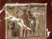 English: Hippolytus and Phaedra, fresco from Pompeii