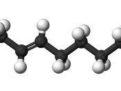 Ball-and-stick model of the palmitelaidic acid molecule, the trans isomer of palmitoleic acid and a trans fat found in hydrogenated vegetable oils.
