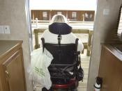 English: Puvis, MS., December 17, 2005 -- Vicki Killinsgworth, the incoming president of Living Independence for Everyone (LIFE), a disability-right group in Mississippi, leaves a FEMA ADA-compliant trailer on exhibit at the Purvis, MS staging area. The i