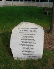English: Montreal massacre memorial at McMaster University