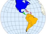 Division of the Americas into North, Central and South America and the West Indies.