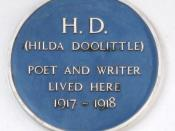 English: Plaque for Hilda Doolittle, 44 Mecklenburgh Square, London WC1