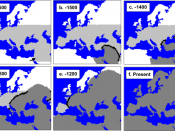 mtDNA-based simulation of modern human expansion in Europe starting 1600 generations ago. Neanderthal range in light grey. Currat, Mathias et al. (December 2004).