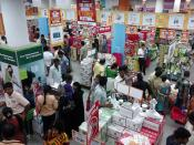 Big bazaar is a chain of shopping malls in India. This mall is at the Esplanade, Kolkata.