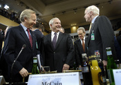 Defense Secretary Robert Gates, center, and U.S. Senators John McCain, right, and Joe Lieberman attend the 43rd Annual Conference on Security Policy in Munich, Germany, Feb. 10, 2007. The theme for the conference is