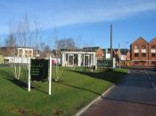 English: Limes Park Sales Centre Dotted around the Park Prewett housing development are a variety of such sales centres all waiting for customers on a bright Saturday morning. They always are located in the neatest corner of the newly landscaped grounds!