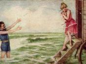 Man and woman in swimsuits, ca. 1910; she is exiting a bathing machine