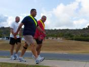 "The ""weigh"" he was Camp America commandant loses more than 50 pounds with help from friends Army Sgt. 1st Class Danny Carreras, Sgt. 1st Class Guillermo Santiago and Master Sgt. Orlando Negron of Headquarters and Headquarters Company of 525th Military Pol"