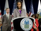 First Lady Michelle Obama addresses the staff of the Department of Housing and Urban Development.