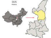 Location of Yan'an Prefecture (yellow) within Shaanxi Province of China Map drawn in december 2007 using various sources, mainly : Shaanxi Province administrative regions GIS data: 1:1M, County level, 1990 Shaanxi Counties map from www.hua2.com