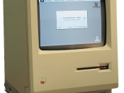 A Macintosh 128k, the first Macintosh model, introduced in 1984 and discontinued in 1985.