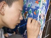 English: Painting Thangka in Lhasa, Tibet. In Tibetan the word 'than' means flat and the suffix 'ka' stands for painting. Français : Homme peignant un Thangka à Lhassa, au Tibet. En Tibétain le mot Than signifie plat et le suffixe ka correpond à l'action