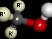 English: Ball and stick model of the alcohol molecule.