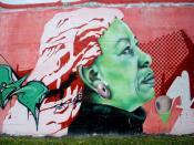 English: Graffiti de Toni Morrison en el frontón del barrio de Aranzabela-Salburúa, en Vitoria-Gasteiz. Imagen tomada el 30-12-2010