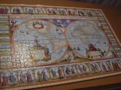 Done jigsaw puzzle of historical map from 1639 y.
