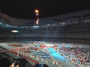English: The Bird's nest, Beijing, during the closing ceremony of the 2008 olympic games, august 24th Français : Le nid d'oiseau, Pékin, durant la cérémonie de cloture des Jeux Olympiques 2008, le 24 août