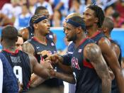 From L to R: Dwayne Wade, Carmelo Anthony, Lebron James, and Chris Bosh