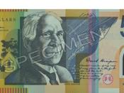 An Australian $50 note featuring David Unaipon's image. The background features the Raukkan mission and Unaipon's mechanical shearer.