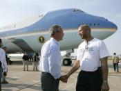 U.S. President George W. Bush and Nagin meet the week after Hurricane Katrina, September 2, 2005.