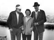American author Ernest Hemingway, Bobbie Powell, and Gary Cooper, Silver Creek, Idaho.