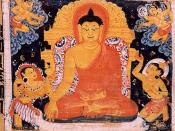 English: Painting of Gautama Buddha sitting in Dhyana, unharmed by the demons of Mara. Sanskrit Astasahasrika Prajnaparamita Sutra manuscript written in the Ranjana script. Nalanda, Bihar, India. Circa 700-1100 CE.