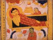 English: Painting of the parinirvana of Gautama Buddha. Sanskrit Astasahasrika Prajnaparamita Sutra manuscript written in the Ranjana script. Nalanda, Bihar, India. Circa 700-1100 CE.