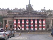 English: Andy Warhol The Royal Scottish Academy entrance, decorated to advertise its exhibition to commemorate the 20th anniversary of the death of Andy Warhol.