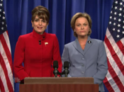 Tina Fey as Sarah Palin (left) and Amy Poehler as Hillary Rodham Clinton (right)