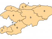 Map of Kyrgyzstan divided per province