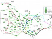 Victorian cities, towns, settlements and road network.
