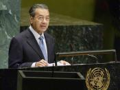Former Malaysian Prime Minister, Tun Dr Mahathir Mohamad addressing the General Assembly on September 25, 2003.