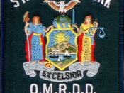 English: Image is similar if not identical to the shoulder patch of the New York State Office of Mental Retardation and Developmental Disabilities Police patch. Made with Photoshop.