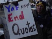 Members of the University of Michigan YAF Chapter protest affirmative action in Ann Arbor, Michigan. This picture appeared on the national YAF organization's website banner.