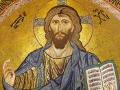 English: Christus Pantocrator in the apsis of the cathedral of Cefalù. Edited from Image:Cefalu Christus Pantokrator.jpg Italiano: Cristo Pantocratore sull'abside della cattedrale di Cefalù. Ingrandimento di Image:Cefalu Christus Pantokrator.jpg