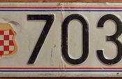 BOSNIA-HERZOGOVINA, CROATIAN HERZEG-BOSNA, MOSTAR, 1992-95 ---ONE LINE LICENSE PLATE