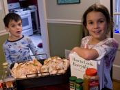 Homeschooled children in the kitchen