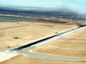 English: Two C-130 Hercules aircraft of the 463rd Tactical Airlift Wing get airborne as the remaining 16 aircraft wait on the runway during a minimum interval takeoff at the start of a mass airdrop exercise. Location: Dyess Air Force Base, Abilene, Texas,