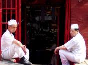 Cooks at a Manhattan Chinatown restaurant taking a break