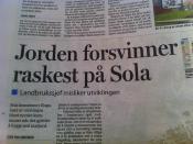 Jorden forsvinner raskest på Sola. Aftenposten-tittel.