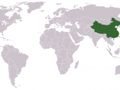 Location of the People's Republic of China. This map shows territories controlled and claimed by the PRC. The PRC also claims sovereignty over Taiwan. Green = actual PRC control (mainland China, some South China Sea islands including those within the Spra