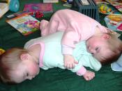 Photograph of eight month old fraternal twin en sisters napping together.