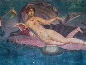 Fresco from Pompei, Casa di Venus, 1st century AD. Dug out in 1960. It is supposed that this fresco could be the Roman copy of famous portrait of Campaspe, mistress of Alexander the Great