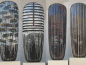 "Four ""Dango"" by Jun Kaneko, all 2001, Honolulu Academy of Arts"