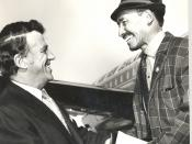 """English: Edmund Hillary & Sherpa Tenzing 1 B&W photo print, copy Beside aircraft shaking hands in greeting or farewell. Any use of this image must be accompanied by the credit """"Horowhenua Historical Society Inc."""""""