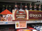 Gluten free beer made from sorghum in an American supermarket; to be used to illustrate articles about gluten-free beer, celiac disease and related topics (not as an advertisement for this specific brand)