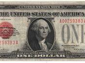 A gold-standard 1928 one-dollar bill. It is identified as a