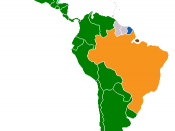 Romance languages in Latin America: Green -Spanish; Blue -French; Orange -Portuguese