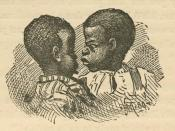 Black children from Uncle Remus, His Songs and His Sayings: The Folk-Lore of the Old Plantation, by Joel Chandler Harris, p. 222. Illustrations by Frederick S. Church and James H. Moser. New York: D. Appleton and Company, 1881.