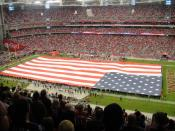 English: The stars and stripes unfurled during the National Anthem at University of Phoenix Stadium